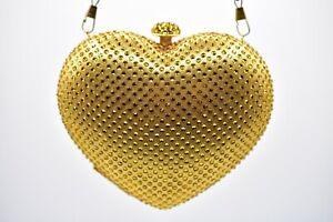 Heart-Box-Clutch-Purse-Sparkling-Rhinestone-Crystal-Metallic-Gold-Evening-Party