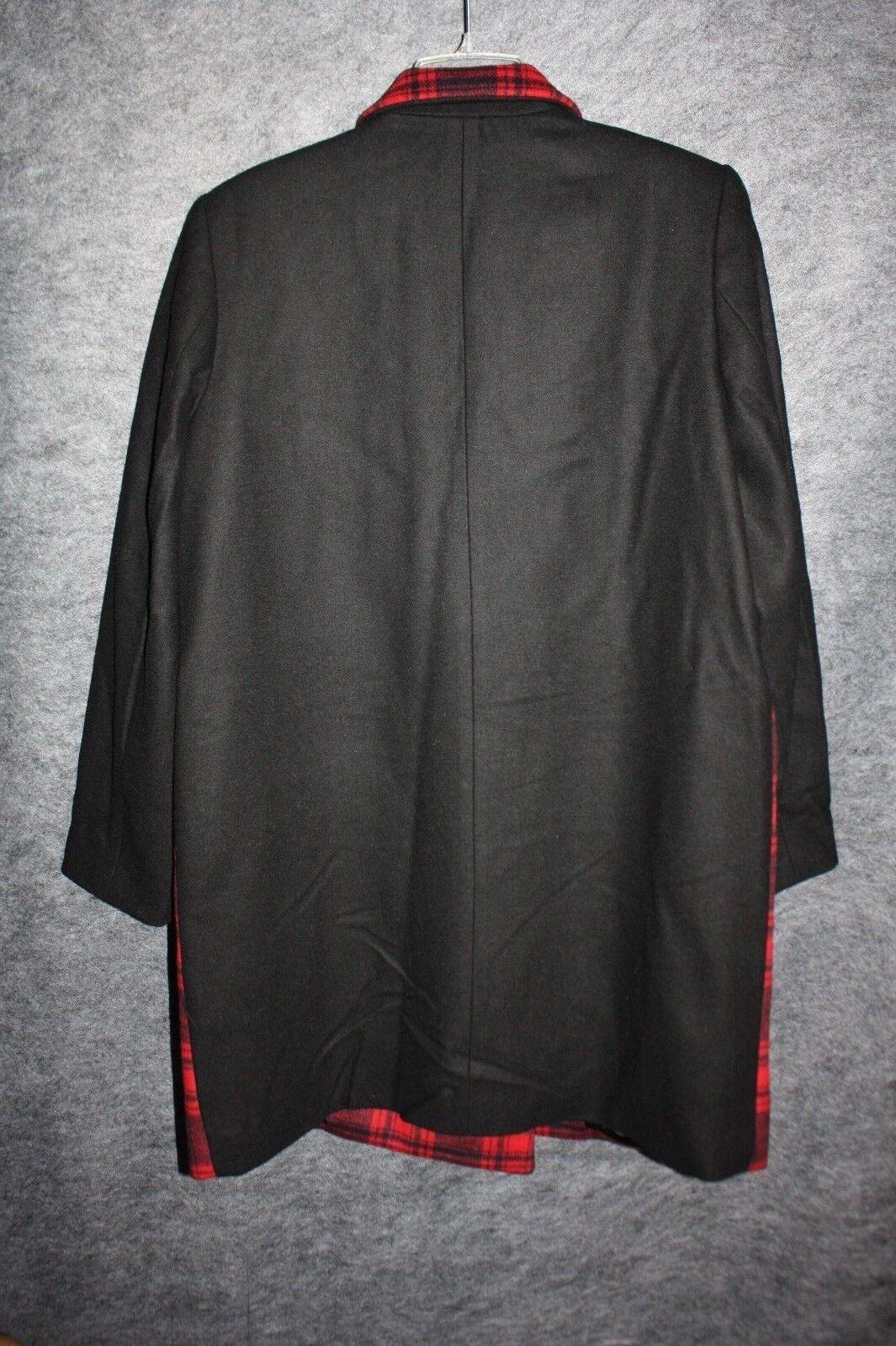 Gap Women's Festive Plaid Plaid Plaid Wool Car Red Coat L Large 5bd5f5