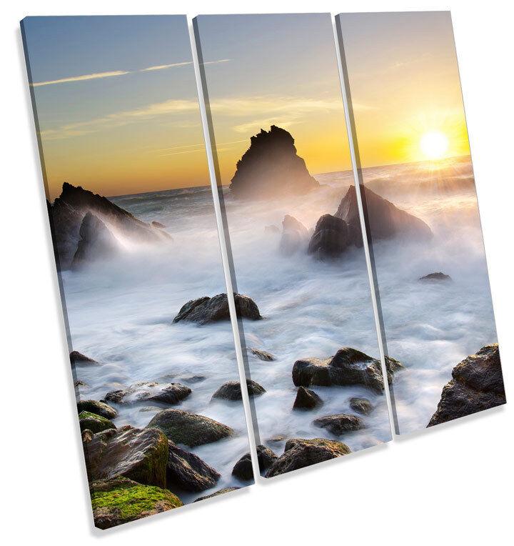 SUNSET FLORA COSTA SPIAGGIA triplicare CANVAS Wall Art SQUARE Print Picture