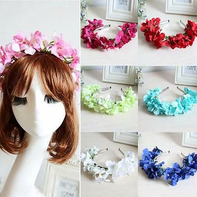 1PCS Floral Flower Garland Crown Hair Band Bridal Festival Holiday Wreath J93