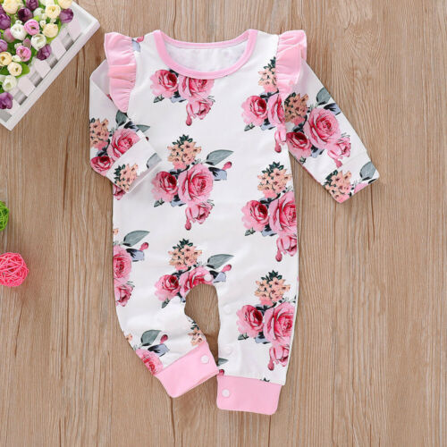 2019 Baby Girl Fly Sleeve Romper Bodysuit Jumpsuit Infant Floral Outfits Clothes