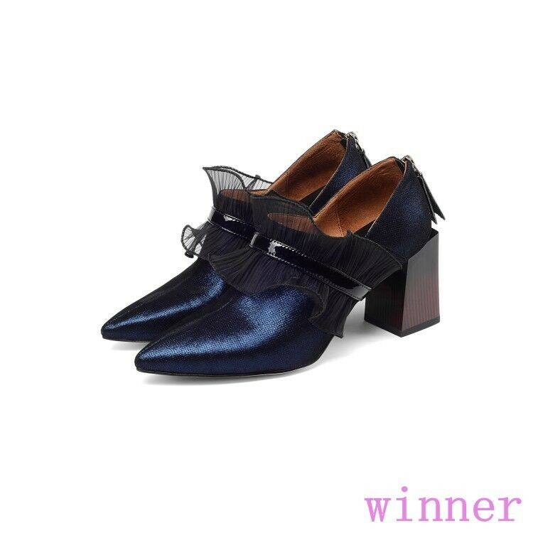 Sweet woemens pointy toe back zip high block heels pumps chaussures lace decor casual
