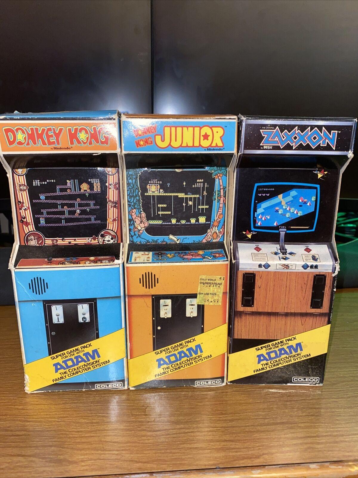 Image 1 - ColecoAdam Arcade Super Game Pack Full Set CIB Donkey Kong Donkey Kong Jr Zaxxon