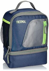 Image Is Loading Thermos Radiance Dual Compartment Lunch Kit Navy Insulated