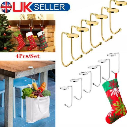 4x Christmas Stocking Hanger Holder Xmas Tree Decoration Metal Mantelpiece Hooks