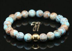 Herbst-Jaspis-925er-sterling-Silber-vergoldet-Armband-Bracelet-Perlenarmband-8mm