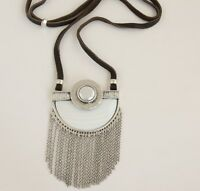 Lucky Brand Large Silver-tone Pearl Pendant Tassels Statement Necklace Jlry1912
