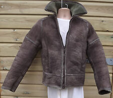 Ladies Vintage Light Brown Sheepskin Flying Aviator Flight Jacket ~ 38