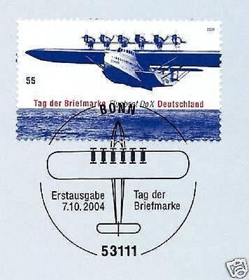 Clever Brd 2004: Flugboot Do X! Tag Der Briefmarke Nr 2428 Mit Bonner Stempel! 1a! 1902 Freigabepreis