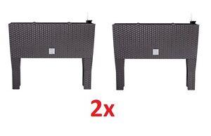2er set blumentopf rattan blumenkasten mit bew sserung. Black Bedroom Furniture Sets. Home Design Ideas