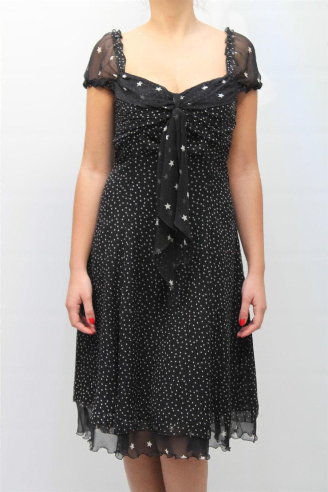 ABITO CLIPS MORE women DRESS ПЛАТЬЕ 100% Seta, B026 2042 black MIS.48 PP 10