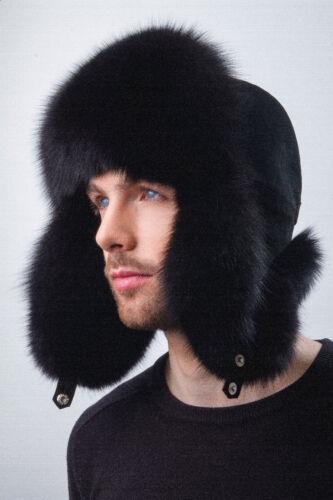 Fox Fur Hat With Suede Jet Black Trapper Hat Aviator Saga Furs Ushanka Fur Hat