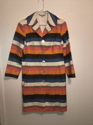 Trina Turk Coat Gorgeous 70's Inspired  Striped Or
