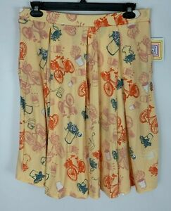 Lularoe-Madison-Skirt-Pale-Peach-Bike-Bicycle-Watering-Can-Flower-Print-Sz-XL