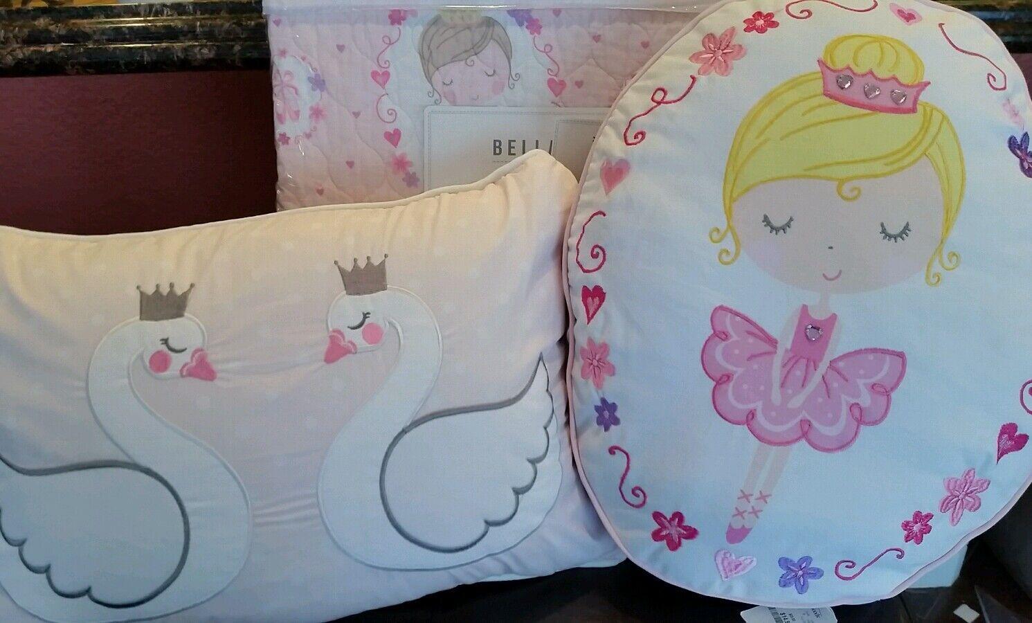 Twin BELLA LUX  BALLERINA Quilt Sham & Pillows  Set 4PC BALLET SWAN DANCE