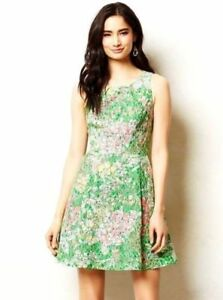 5b32b927238c Image is loading Anthropologie-Maeve-4-Green-Lace-Floral-Pockets-Sequin-