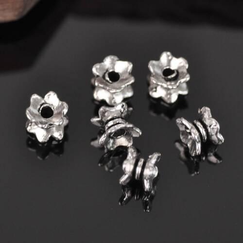 50pcs 7x4mm Tibetan Silver Antique Metal Loose Spacer Crafts Beads Wholesale lot