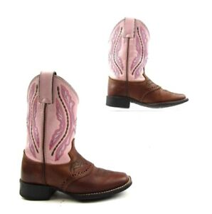 Toddler Youth Western Plain Leather Boots Cowboy Cowgirl Square Toe