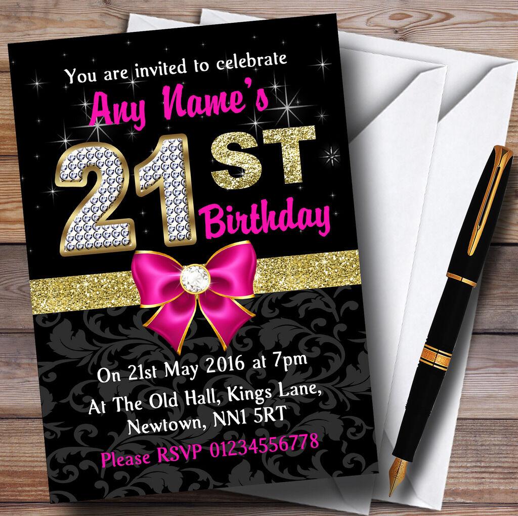 Rose noir noir Rose or diaFemmets 21e anniversaire party invitations personnalisées 2ec76a