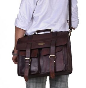 Leather-Messenger-Bag-Computer-Brown-Laptop-Briefcase-Men-039-s-amp-Women-039-s-Satchel