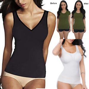 f83948076a5 Image is loading Padded-Shapewear-Women-Tank-Top-Body-Shaper-Seamless-
