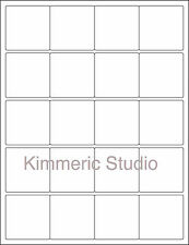 "6 SHEETS 2""x2"" BLANK STICKERS WHITE SQUARE 120 LABELS"