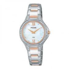 Pulsar Ladies Slim Dress Watch Chrome/Rose Swarovski Crystals PM2175 UK Seller