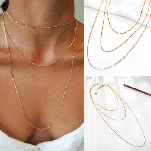 Fashion Women Simple 3 Layers Long Chain Pendant Alloy Choker Necklace Jewelry