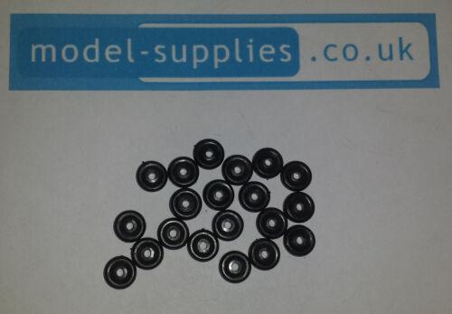 Original Matchbox 7mm Negro ruedas de plástico-Paquete de 20