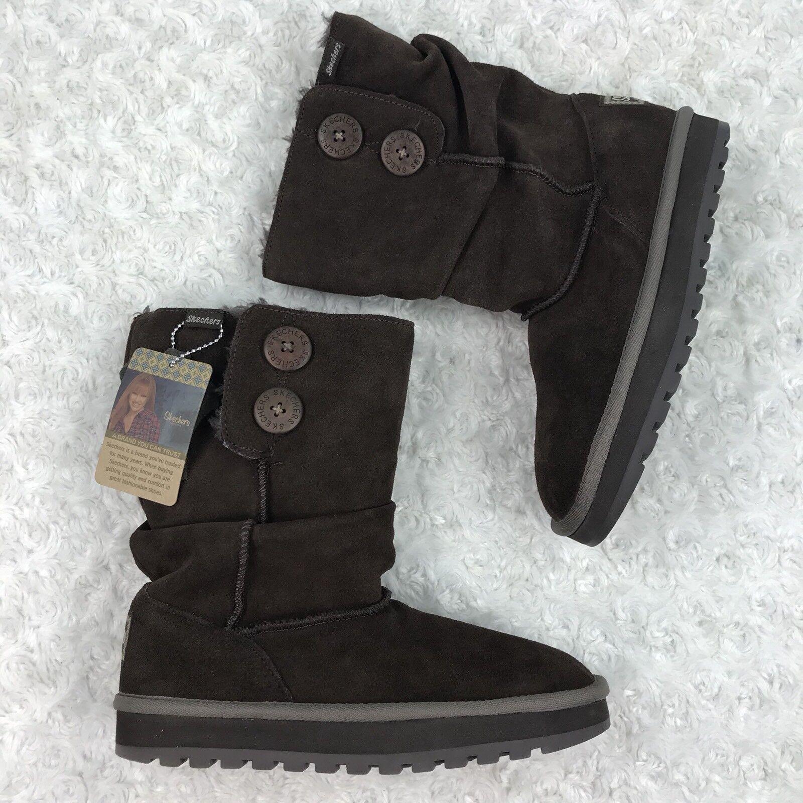 skechers Australia Women's Boots Size 6 UK 3 Mid-Calf Chocolate Suede Keepsakes