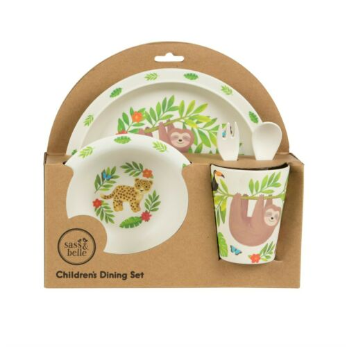 Sass /& Belle Bamboo Childrens Cup Plate Bowl Cutlery Tableware Set Fast Del