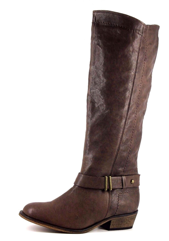 Siguiente Para Mujer Reino Unido 4 de ancho de cuero marrón chocolate Fit Alto Botas Hasta La Rodilla Nuevo
