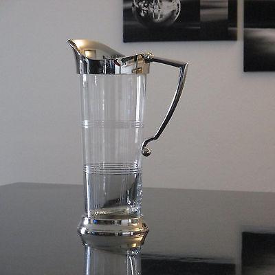 Karaffe Edel Luxus Wasserkanne Krug Glaskrug Mit Schliff Jugendstil Silber Antik