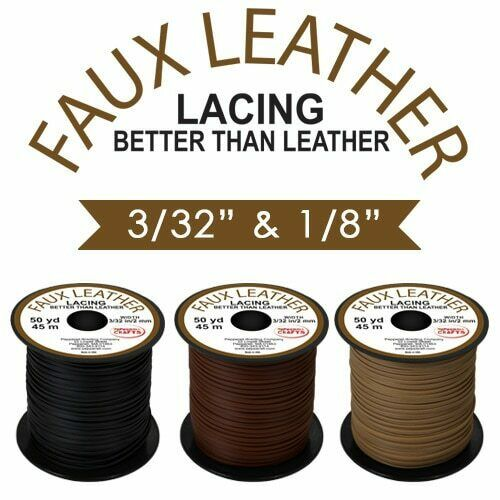 """Faux Leather Lace 3//32/"""" 50 yd TAN"""