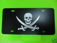 SKULL CROSSBONES LICENSE PLATE JOLLY ROGER PIRATE BOOTY BUCCANEER SHIP NO FRAME