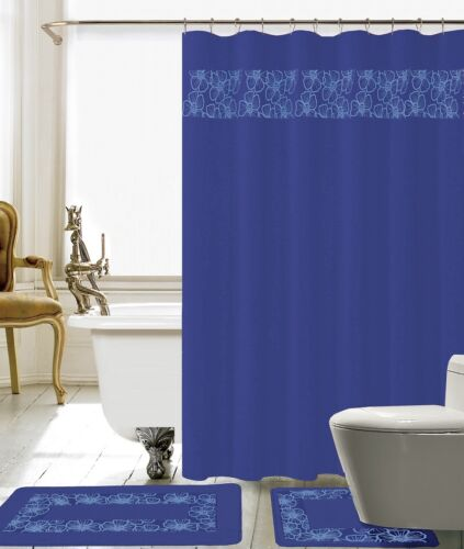 Navy Blue 15 Piece Lilian Embroidery Banded Shower Curtain Bath Set