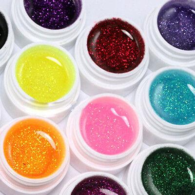 12 X Kit Ongle Gel UV Couverture Paillette Acrylique Extension Manucure Nail Art