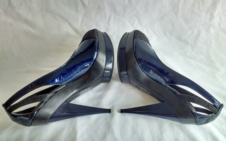 French Connection Haut Femme Hauts Noir en Cuir Bleu Talons Hauts Femme Chaussures Taille 4/37 458f3c