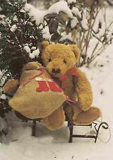 Teddybär mit Nikolaus-Sack auf Schlitten 1997