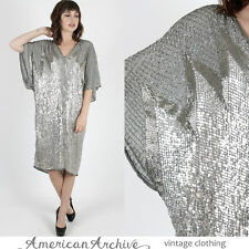 Vintage 80s Halston Sequin Dress Silver Metallic Beaded Drape Cocktail Mini Midi
