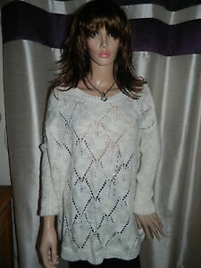 d79ace5201f H M Cream   Gold Long Chunky Woolly Jumper size Medium NEW RRP £30 ...