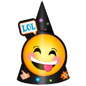Image Is Loading EMOJI LOL CONE HATS 8 Birthday Party Supplies