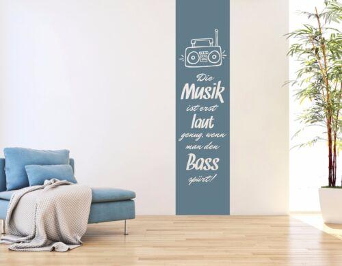 Wandtattoo Wandbanner Wandtato Wohnzimmer Flur Wandspruch Musik Bass pkm190