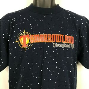 Vintage 90s Mickey Inc Blue Tomorrowland 1998 All Over Print T-shirt Size M