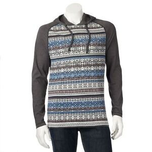 RETROFIT Men's Hoodie Tribal Print Long Sleeve Shirt with Hood ...