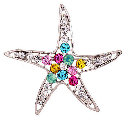 New Jewelry Starfish Colorful Rhinestone Inlay Shiny Silvery Brooch bridal Pin