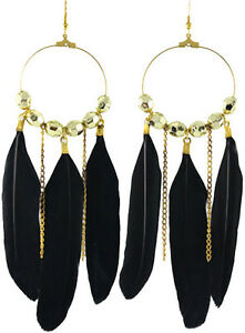 Fashion black feather circle chain dangle chandelier earrings jewelry