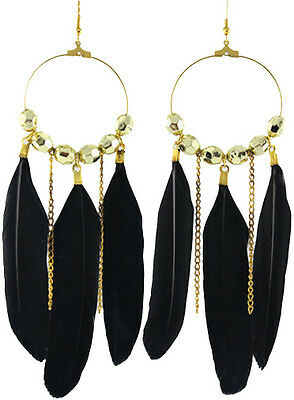 F1517 fashion black Feather circle chain dangle chandelier earrings jewelry