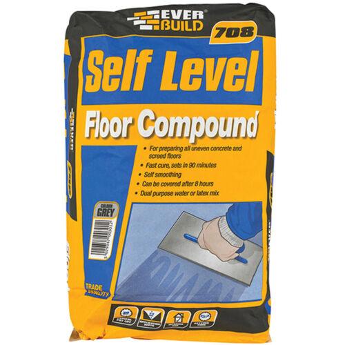Everbuild 708 Self Levelling Floor Compound 20kg Bag Grey Cement Based Flooring