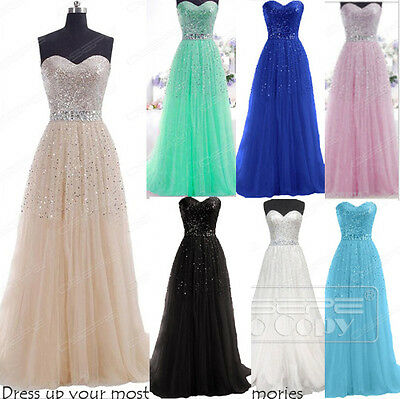 Sequins Long Fomal Ball Gown Prom Cocktail Evening Bridesmaid Dresses Size 6-16